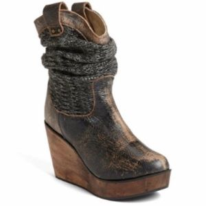 Bed Stu Burges Distressed Leather Knit Wedge Boots